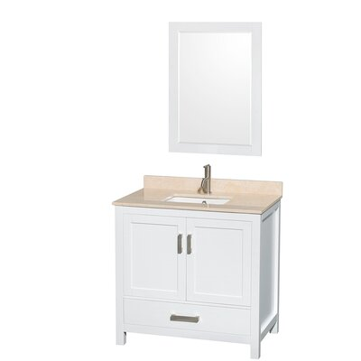 Sheffield 36 Single White Bathroom Vanity Set with Mirror Top Finish: Ivory Marble, Faucet Mount: Single Hole