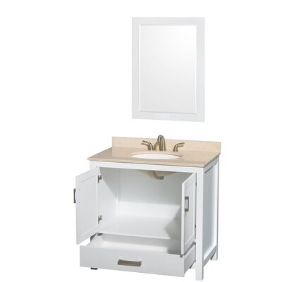 Sheffield 36 Single White Bathroom Vanity Set with Mirror Top Finish: Ivory Marble, Faucet Mount: 8 Centers