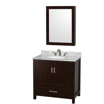Sheffield 36 Single Espresso Bathroom Vanity Set with Medicine Cabinet Top Finish: White Carrera Marble, Faucet Mount: 8 Centers