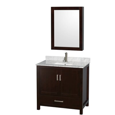 Sheffield 36 Single Espresso Bathroom Vanity Set with Medicine Cabinet Top Finish: White Carrera Marble, Faucet Mount: Single Hole