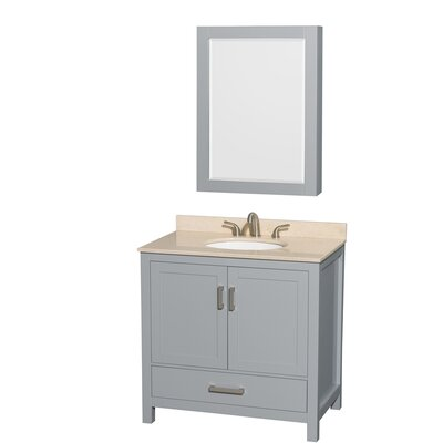 Sheffield 36 Single Gray Bathroom Vanity Set with Medicine Cabinet Top Finish: Ivory Marble, Faucet Mount: 8 Centers