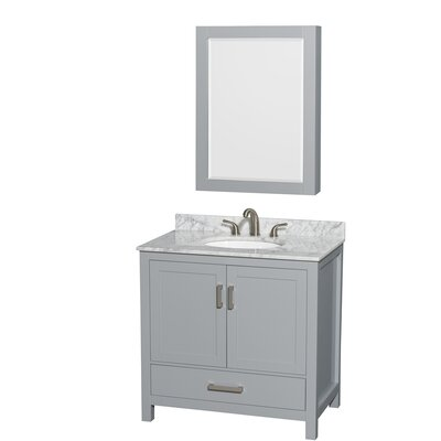 Sheffield 36 Single Gray Bathroom Vanity Set with Medicine Cabinet Top Finish: White Carrera Marble, Faucet Mount: 8 Centers