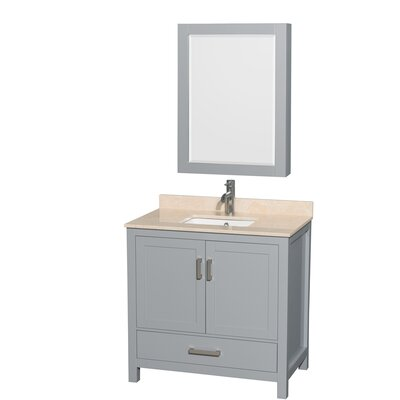 Sheffield 36 Single Gray Bathroom Vanity Set with Medicine Cabinet Top Finish: Ivory Marble, Faucet Mount: Single Hole