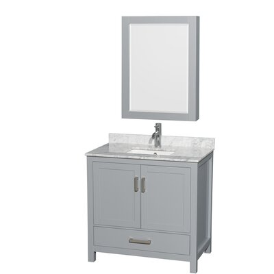 Sheffield 36 Single Gray Bathroom Vanity Set with Medicine Cabinet Top Finish: White Carrera Marble, Faucet Mount: Single Hole
