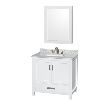 Sheffield 36 Single White Bathroom Vanity Set with Medicine Cabinet Top Finish: White Carrera Marble, Faucet Mount: 8 Centers