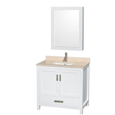 Sheffield 36 Single White Bathroom Vanity Set with Medicine Cabinet Top Finish: Ivory Marble, Faucet Mount: Single Hole