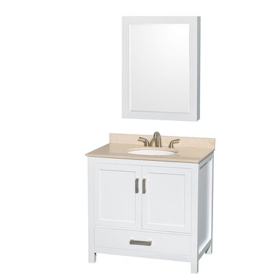 Sheffield 36 Single White Bathroom Vanity Set with Medicine Cabinet Top Finish: Ivory Marble, Faucet Mount: 8 Centers