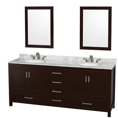 Sheffield 80 Double Espresso Bathroom Vanity Set with Mirror Top Finish: White Carrera Marble, Faucet Mount: 8 Centers