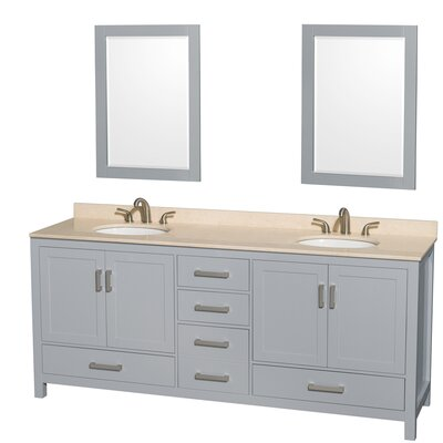 Sheffield 80 Double Gray Bathroom Vanity Set with Mirror Top Finish: Ivory Marble, Faucet Mount: 8 Centers