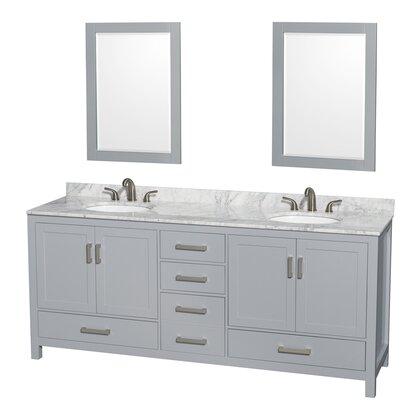 Sheffield 80 Double Gray Bathroom Vanity Set with Mirror Top Finish: White Carrera Marble, Faucet Mount: 8 Centers