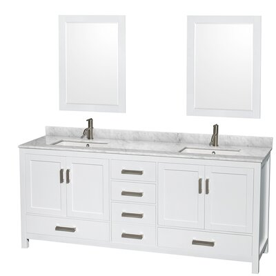 Sheffield 80 Double White Bathroom Vanity Set with Mirror Top Finish: White Carrera Marble, Faucet Mount: Single Hole