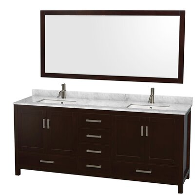 Sheffield 80 Double Espresso Bathroom Vanity Set with Mirror Top Finish: White Carrera Marble, Faucet Mount: Single Hole
