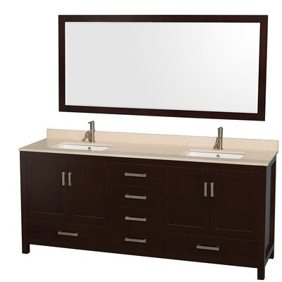 Sheffield 80 Double Espresso Bathroom Vanity Set with Mirror Top Finish: Ivory Marble, Faucet Mount: Single Hole