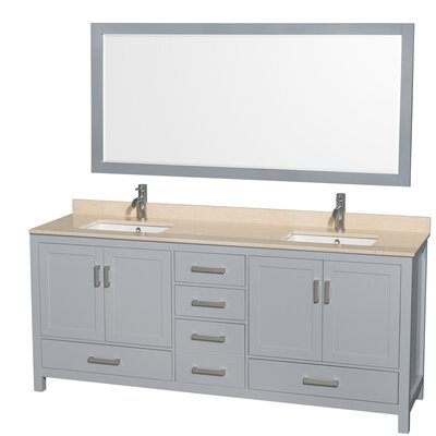 Sheffield 80 Double Gray Bathroom Vanity Set with Mirror Top Finish: Ivory Marble, Faucet Mount: Single Hole