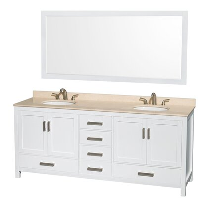 Sheffield 80 Double White Bathroom Vanity Set with Mirror Top Finish: Ivory Marble, Faucet Mount: 8 Centers