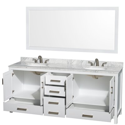 Sheffield 80 Double White Bathroom Vanity Set with Mirror Top Finish: White Carrera Marble, Faucet Mount: 8 Centers