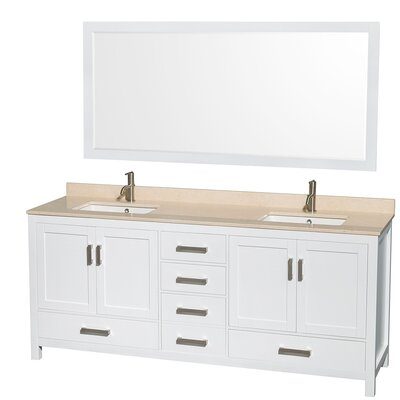 Sheffield 80 Double White Bathroom Vanity Set with Mirror Top Finish: Ivory Marble, Faucet Mount: Single Hole