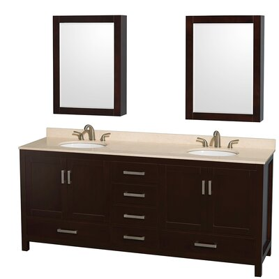 Sheffield 80 Double Espresso Bathroom Vanity Set with Medicine Cabinets Top Finish: Ivory Marble, Faucet Mount: 8 Centers