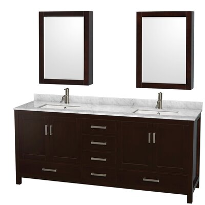Sheffield 80 Double Espresso Bathroom Vanity Set with Medicine Cabinets Top Finish: White Carrera Marble, Faucet Mount: Single Hole