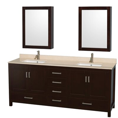 Sheffield 80 Double Espresso Bathroom Vanity Set with Medicine Cabinets Top Finish: Ivory Marble, Faucet Mount: Single Hole