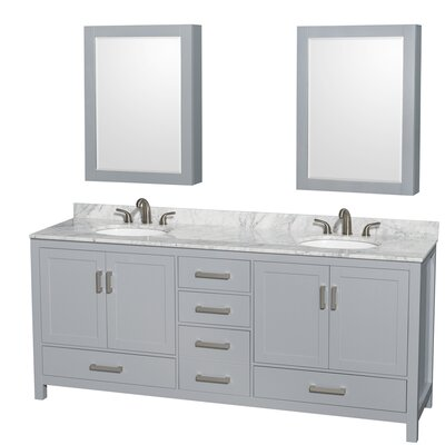 Sheffield 80 Double Gray Bathroom Vanity Set with Medicine Cabinet Top Finish: White Carrera Marble, Faucet Mount: 8 Centers