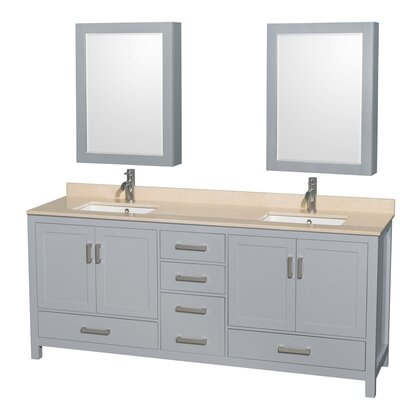 Sheffield 80 Double Gray Bathroom Vanity Set with Medicine Cabinet Top Finish: Ivory Marble, Faucet Mount: Single Hole