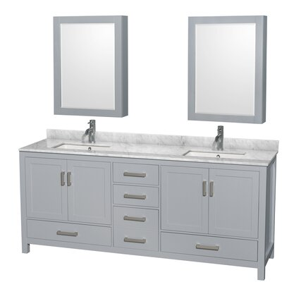 Sheffield 80 Double Gray Bathroom Vanity Set with Medicine Cabinet Top Finish: White Carrera Marble, Faucet Mount: Single Hole