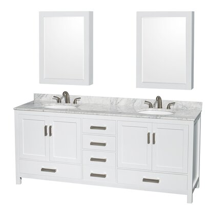 Sheffield 80 Double White Bathroom Vanity Set with Medicine Cabinets Top Finish: Ivory Marble, Faucet Mount: 8 Centers