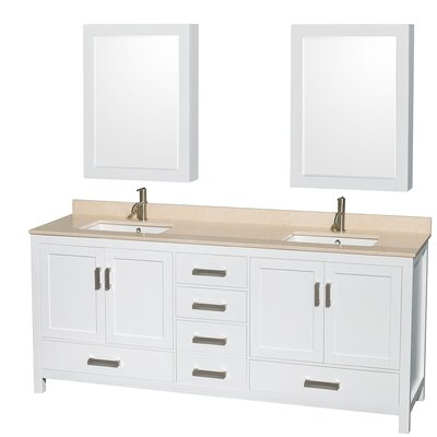 Sheffield 80 Double White Bathroom Vanity Set with Medicine Cabinets Top Finish: Ivory Marble, Faucet Mount: Single Hole