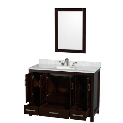 Sheffield 48 Single Espresso Bathroom Vanity Set with Mirror Top Finish: White Carrera Marble, Faucet Mount: 8 Centers