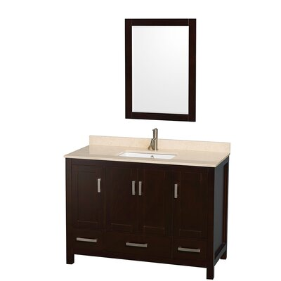 Sheffield 48 Single Espresso Bathroom Vanity Set with Mirror Top Finish: Ivory Marble, Faucet Mount: 8 Centers