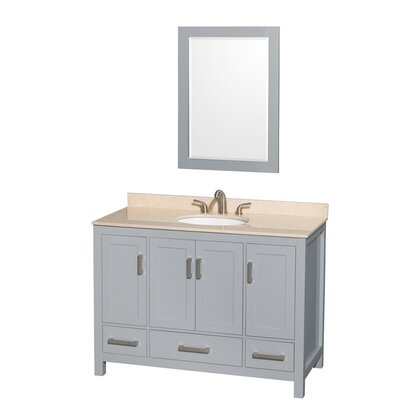 Sheffield 48 Single Gray Bathroom Vanity Set with Mirror Top Finish: Ivory Marble, Faucet Mount: Single Hole