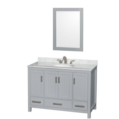 Sheffield 48 Single Gray Bathroom Vanity Set with Mirror Top Finish: White Carrera Marble, Faucet Mount: 8 Centers