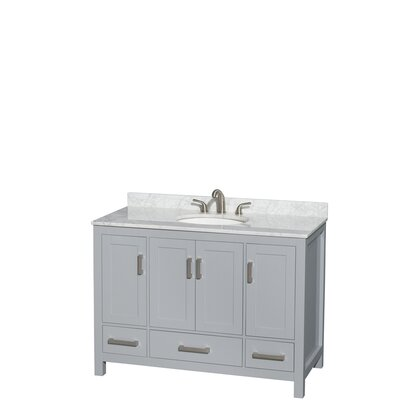 Sheffield 48 Single Bathroom Vanity Set Base Finish: Gray, Top Finish: White Carrera