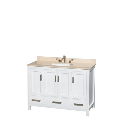 Sheffield 48 Single Bathroom Vanity Set Base Finish: White, Top Finish: Ivory