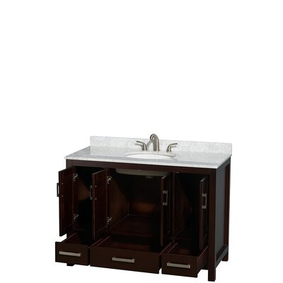 Sheffield 48 Single Bathroom Vanity Set Base Finish: Espresso, Top Finish: White Carrera