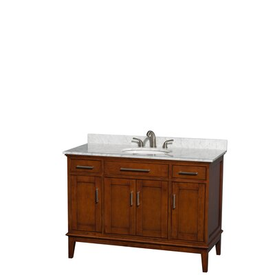 Sheffield 48 Single Bathroom Vanity Set Top Finish: White Carrera, Base Finish: Light Chestnut