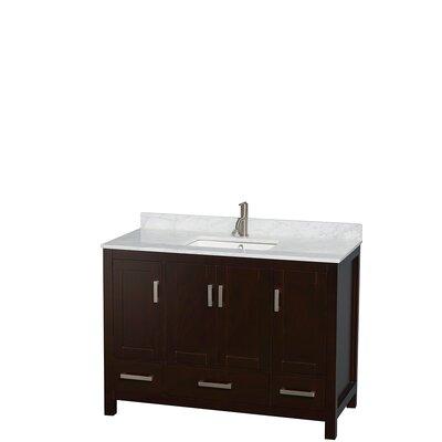 Sheffield 48 Single Bathroom Vanity Set Base Finish: Espresso, Top Finish: White Carrera