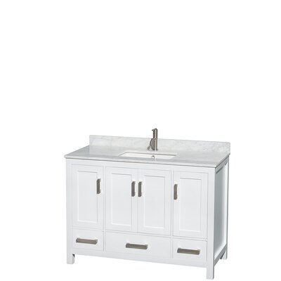 Sheffield 48 Single Bathroom Vanity Set Base Finish: White, Top Finish: White Carrera