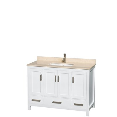 Sheffield 48 Single Bathroom Vanity Set Base Finish: White, Top Finish: Ivory