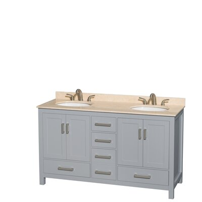 Sheffield 60 Double Bathroom Vanity Set Base Finish: Gray, Top Finish: Ivory