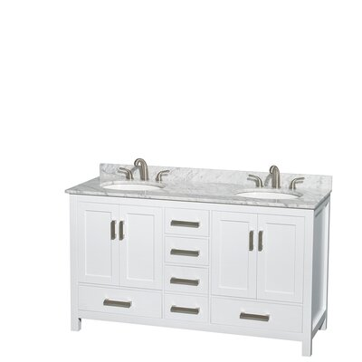 Sheffield 60 Double Bathroom Vanity Set Base Finish: White, Top Finish: White Carrera