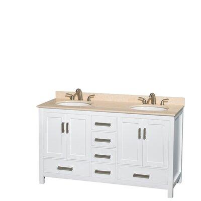 Sheffield 60 Double Bathroom Vanity Set Base Finish: White, Top Finish: Ivory