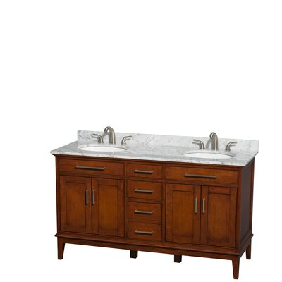 Sheffield 60 Double Bathroom Vanity Set Top Finish: White Carrera, Base Finish: Light Chestnut