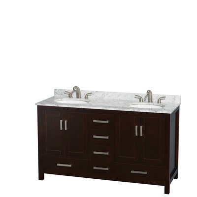 Sheffield 60 Double Bathroom Vanity Set Top Finish: White Carrera, Base Finish: Espresso