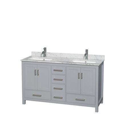 Sheffield 60 Double Bathroom Vanity Set Base Finish: Gray, Top Finish: White Carrera