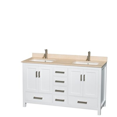 Sheffield 60 Double Bathroom Vanity Set Base Finish: White, Top Finish: Ivory