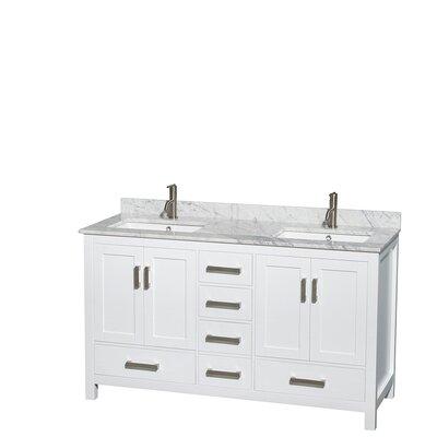 Sheffield 60 Double Bathroom Vanity Set Base Finish: White, Top Finish: White Carrera
