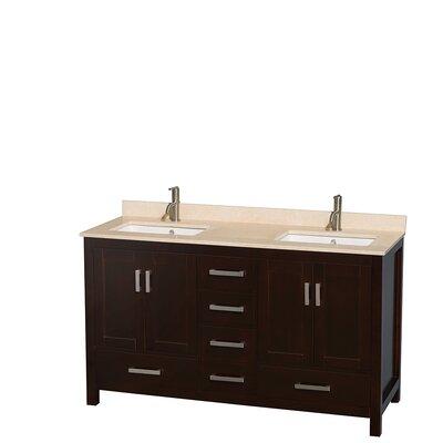 Sheffield 60 Double Bathroom Vanity Set Base Finish: Espresso, Top Finish: Ivory
