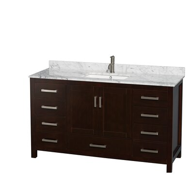Sheffield 60 Single Bathroom Vanity Set Base Finish: Espresso, Top Finish: White Carrera